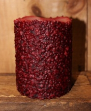 Candle from the Candle Factory, Meaford, Ontario showing bumpy texture