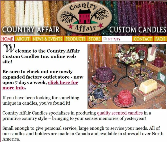 Our first online candle shop, circa 2002