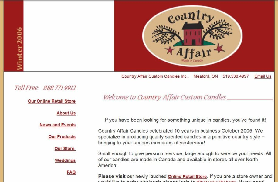 2006 facelift to our online candle store.